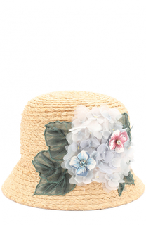 Шляпа из рафии с цветочным декором Dolce & Gabbana
