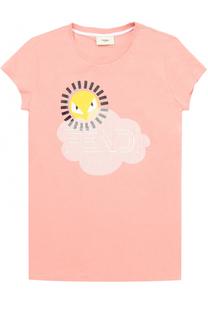 Хлопковая футболка с принтом Fendi Roma