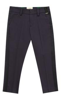 Хлопковые брюки с лампасами Fendi Roma