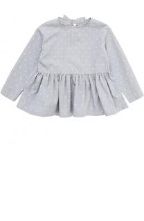 Хлопковая блуза свободного кроя с вышивками и бантом Il Gufo