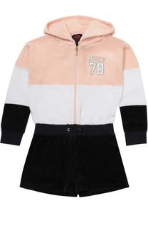 Мини-комбинезон из хлопка и полиэстера с контрастной отделкой и длинными рукавами Juicy Couture