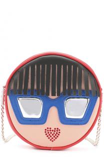 Кожаная сумка с аппликациями на цепочке Simonetta