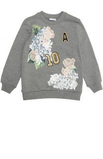 Хлопковый свитшот с аппликациями и пайетками Dolce & Gabbana