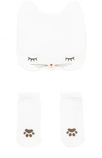 Хлопковый комплект из шапки и пинеток Dolce & Gabbana