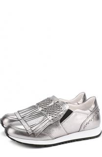 Кожаные кроссовки с бахромой Tod's Tods