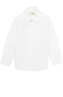 Хлопковая рубашка прямого кроя Fendi Roma