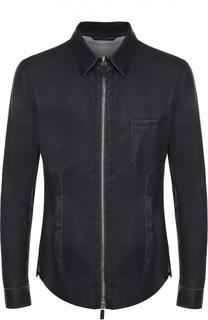 Кожаная куртка на молнии с отложным воротником Giorgio Armani