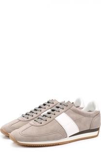 Замшевые кроссовки с контрастными кожаными вставками Tom Ford