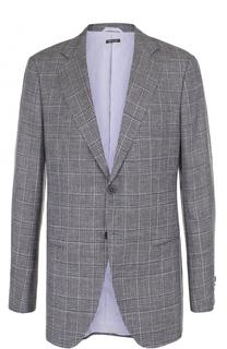 Однобортный пиджак из смеси шерсти и льна с шелком Giorgio Armani