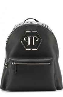 Кожаный рюкзак с логотипом бренда Philipp Plein