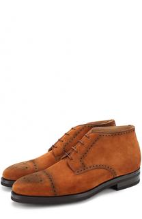 Замшевые ботинки с брогированием Kiton