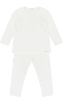 Хлопковая пижама с кружевной отделкой La Perla