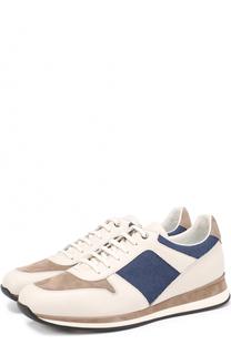 Комбинированные кроссовки на шнуровке Ermenegildo Zegna