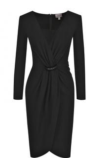 Приталенное платье-миди с V-образным вырезом и драпировкой Armani Collezioni