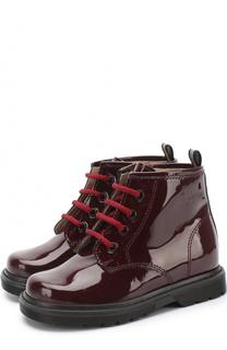 Ботинки из лаковой кожи на шнуровке с молнией Il Gufo