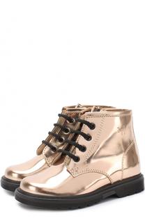 Ботинки из металлизированной кожи на шнуровке с молнией Il Gufo