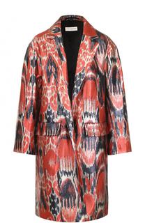 Пальто свободного кроя с металлизированной отделкой Dries Van Noten