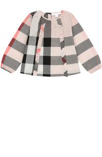 Хлопковая блуза с принтом и оборками Burberry