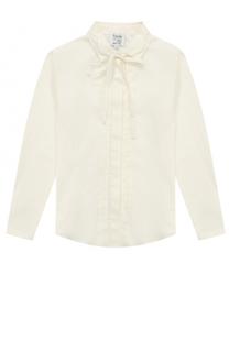 Хлопковая блуза с защипами и бантом Aletta