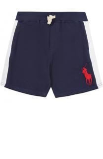 Хлопковые шорты с контрастной отделкой на кулиске Polo Ralph Lauren