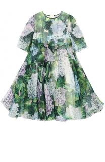 Шелковое платье с цветочным принтом и бантом Dolce & Gabbana