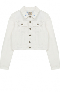 Укороченная куртка из денима с вышивкой Polo Ralph Lauren