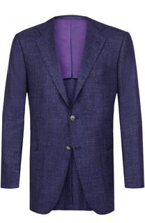 Однобортный пиджак из смеси кашемира и льна с шелком Kiton