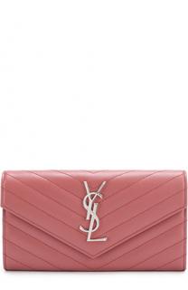 Кожаный кошелек с клапаном с логотипом бренда Saint Laurent