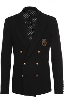 Шерстяной двубортный блейзер с контрастными пуговицами и вышивкой канителью Dolce & Gabbana