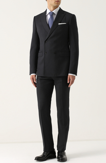 Шерстяной костюм с двубортным пиджаком Armani Collezioni