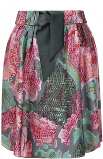 Мини-юбка с принтом и поясом Armani Collezioni