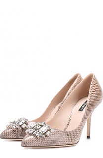 Кожаные туфли Bellucci с тиснением и брошью Dolce & Gabbana