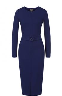 Платье-миди с длинным рукавом и поясом Armani Collezioni