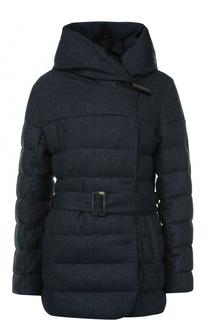 Стеганая куртка с капюшоном и поясом Armani Collezioni