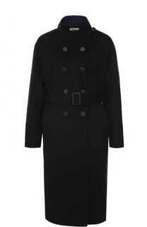 Шерстяное пальто с поясом и воротником-стойкой Armani Collezioni