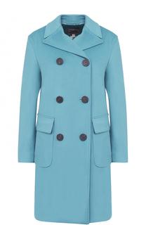 Двубортное шерстяное пальто прямого кроя Armani Collezioni