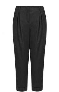 Укороченные шерстяные брюки с защипами Armani Collezioni