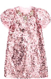 Мини-платье прямого кроя с пайетками и кристаллами Dolce & Gabbana