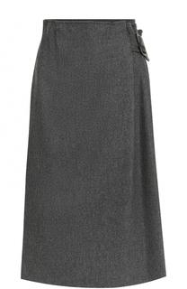 Шерстяная юбка-миди со складками Armani Collezioni