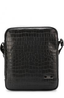 Кожаная сумка-планшет на молнии Armani Collezioni