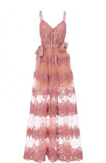 Платье-миди с кружевной отделкой и брошью Elie Saab