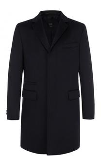 Кашемировое однобортное пальто BOSS