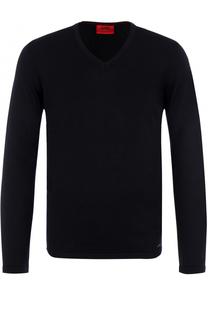 Шерстяной однотонный пуловер HUGO