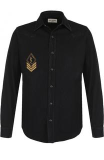 Рубашка из денима с аппликацией Saint Laurent