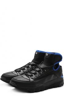 Кожаные кроссовки с текстильной отделкой Dior