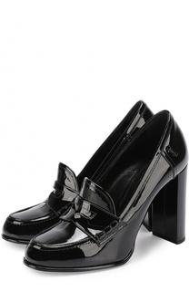 Лаковые туфли Universite на устойчивом каблуке Saint Laurent