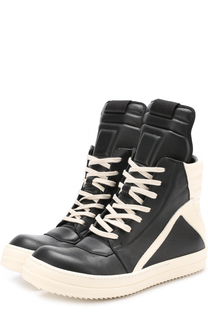 Высокие кожаные кеды на шнуровке Rick Owens