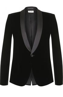 Бархатный однобортный пиджак Saint Laurent