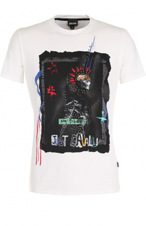 Хлопковая футболка с аппликацией Just Cavalli
