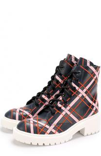 Кожаные ботинки с контрастной прострочкой Kenzo